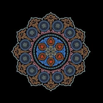 Ornamental redondo étnico abstrato