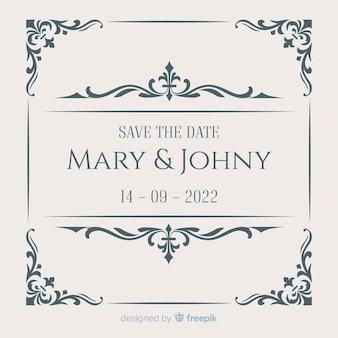 Ornamental salvar o cartão de casamento de data