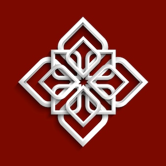 Ornamento 3d branco em estilo árabe