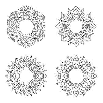Ornamento abstrato círculo com conceito de flor