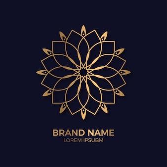 Ornamento abstrato luxo ouro círculo flor logotipo