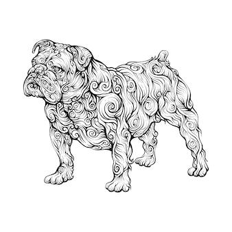 Ornamento animal de bulldog na mão de desenho