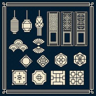 Ornamento asiático, lâmpada chinesa, porta tradicional