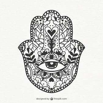 Ornamento boho no estilo desenhado mão