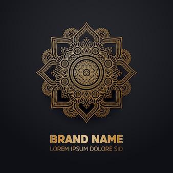 Ornamento, bonito, luxo, cartão, com, mandala, geométrico, círculo, elemento, feito, em, vetorial