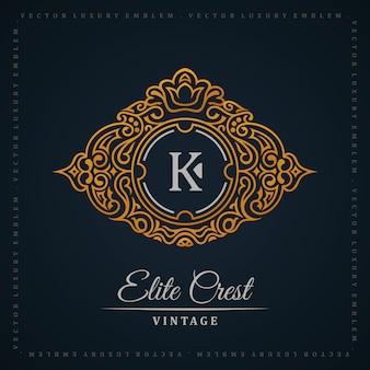 Ornamento caligráfico de logotipo de ouro vintage