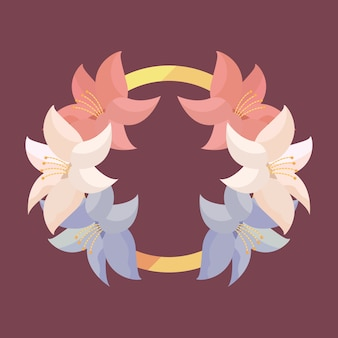 Ornamento circular de flores tropicais com folhas