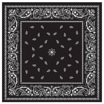 Ornamento clássico do impressão do bandana preto e branco