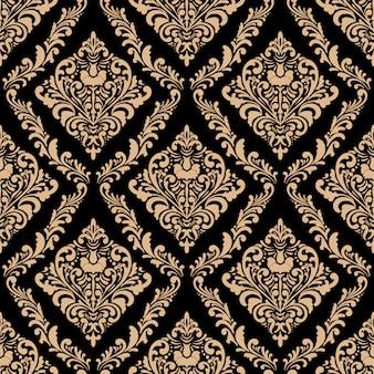 Ornamento clássico vintage dourado. damasco sem costura padrão.