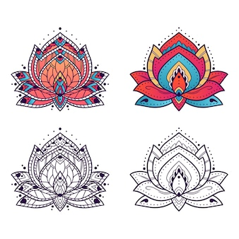 Ornamento de arte de mandala de lótus