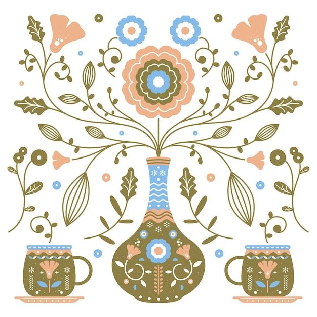 Ornamento de arte popular com jarra de vaso e ilustração vetorial de flores. estilo de design escandinavo