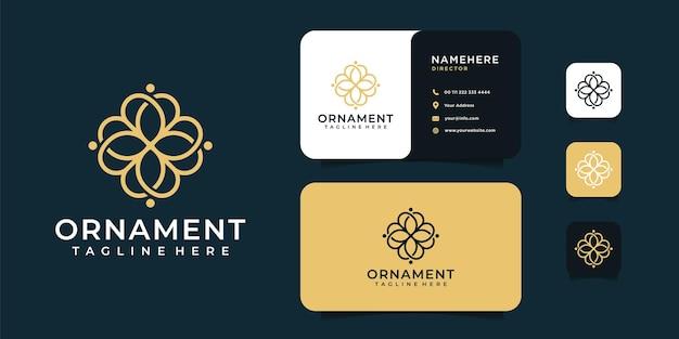 Ornamento de beleza de logotipo de flor de luxo e design de cartão de visita