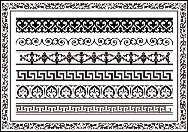 Ornamento de borda para design de moldura, janela, design de interiores e design de construção