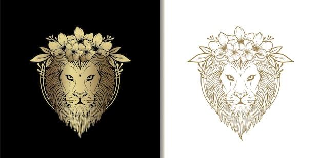 Ornamento de cabeça de leão. cabeça de leão com ornamento abstrato de luxo desenhado à mão estilo de flores e plantas