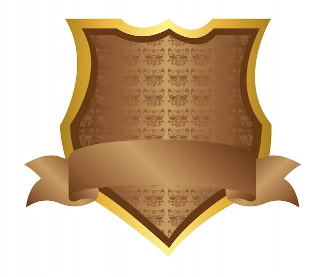 Ornamento de escudo marrom isolado sobre o vetor de fundo branco
