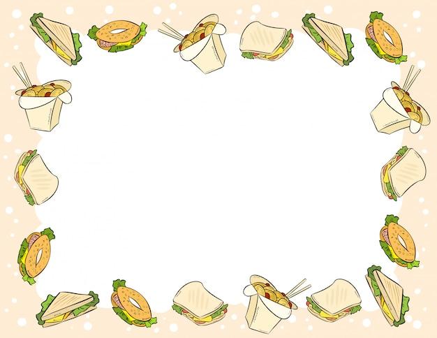 Ornamento de fast-food e sanduíches em estilo cômico doodles modelo de carta de vista superior.