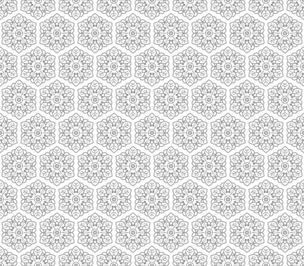 Ornamento de flor cinza sem costura de elementos florais. fundo de telhas de mel favo. papel de parede hexagonal intrincado, papel para presente, impressão em tecido, têxteis da moda, móveis.