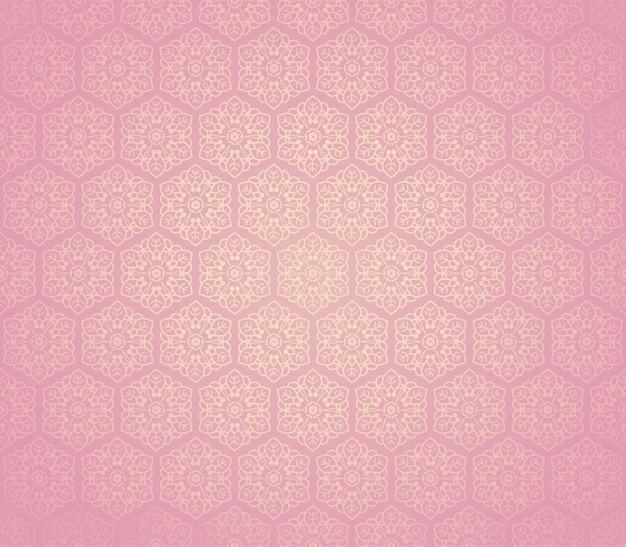Ornamento de flor rosa sem costura de elementos florais. fundo de telhas de mel favo. papel de parede hexagonal intrincado, papel para presente, impressão em tecido, têxteis da moda, móveis.