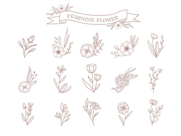Ornamento de flores e folhas