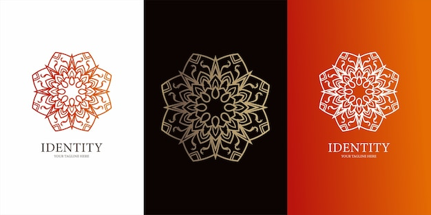 Ornamento de flores ou design de modelo de logotipo de mandala design de modelo de logotipo ent
