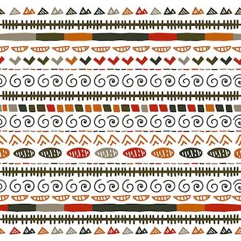 Ornamento de folclore geométrico ikat. textura tribal étnica do vetor escandinavo. sem costura padrão listrado em estilo asteca. bordado tribal de figuras. indiano, escandinavo, cigano, mexicano, padrão popular.