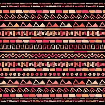 Ornamento de folclore geométrico ikat. textura tribal étnica do vetor. sem costura padrão listrado em estilo asteca. bordado tribal de figuras. indiano, escandinavo, cigano, mexicano, padrão popular.