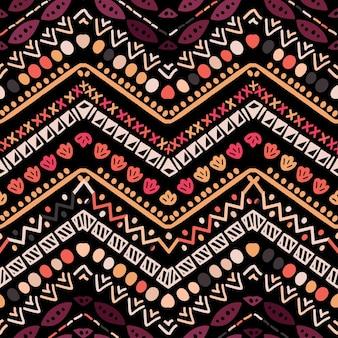 Ornamento de folclore geométrico ikat. textura tribal étnica do vetor. sem costura padrão listrado escandinavo em estilo asteca. bordado tribal de figuras. indiano, escandinavo, cigano, mexicano, padrão popular.