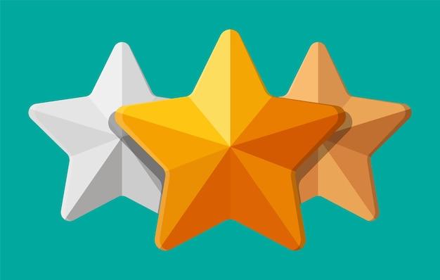 Ornamento de forma de estrela. estrela de cinco cantos. prêmios de ouro, prata e bronze. símbolo de riqueza, troféu ou prêmio. ilustração vetorial em estilo simples