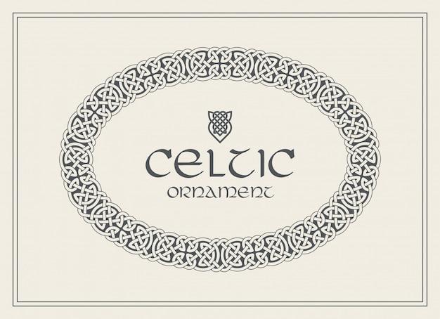 Ornamento de fronteira do nó celta quadro trançado. tamanho a4