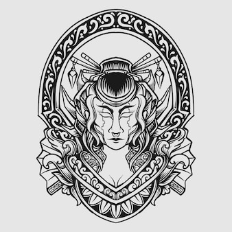 Ornamento de gravura de gueixa mecha desenhada à mão em preto e branco