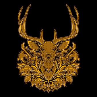 Ornamento de gravura dourada com cabeça de veado