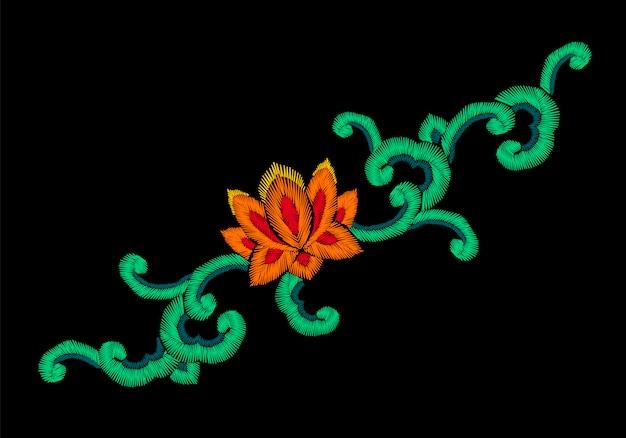 Ornamento de imitação de bordado oriental coreano nacional, lotus