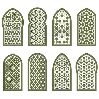 Ornamento de janela árabe estampado - padrão de arabescos gradeados