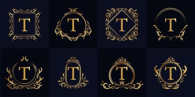 Ornamento de luxo da letra t ou coleção de conjunto de modelo de logotipo de quadro floral.