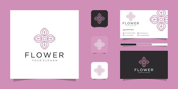 Ornamento de luxo rosa floral elegante minimalista com estilo de linha de arte. os logotipos podem ser usados para beleza, cosméticos, ioga e spa. logotipo e cartão de visita
