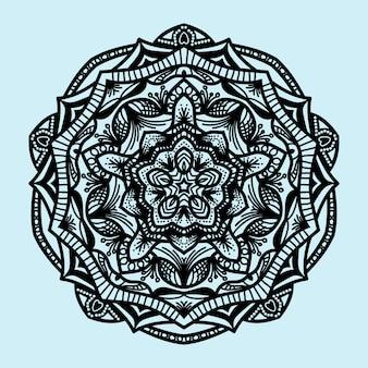 Ornamento de mandala com estilo de gravura