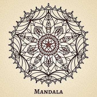 Ornamento de mandala de meditação de ioga. desenhe um símbolo sagrado, budismo e decoração com flores