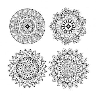 Ornamento de mandala floral definido ícones em fundo branco, luxo vintage, decoração ornamental
