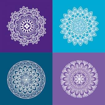 Ornamento de mandala floral definido ícones em fundos roxos e azuis, luxo vintage, decoração ornamental