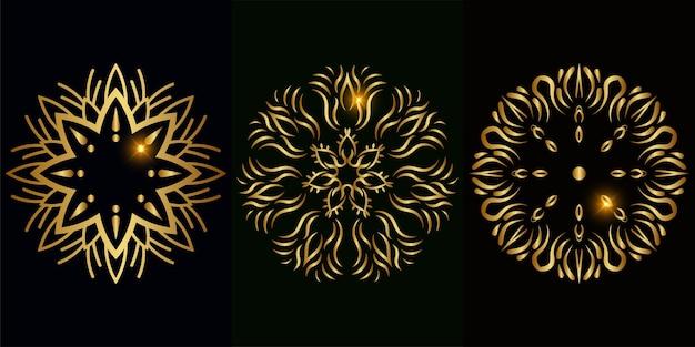 Ornamento de mandala ou coleção de conjunto de design de fundo de flor.