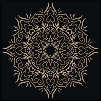 Ornamento de mandala ou desenho de fundo de flor cor dourada.