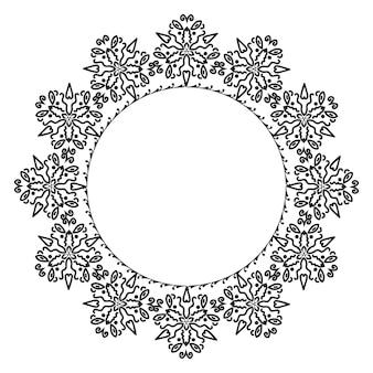 Ornamento de moldura redonda a céu aberto com cachos em forma de círculo preto e branco