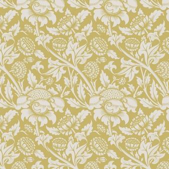 Ornamento de natureza de fundo amarelo sem costura
