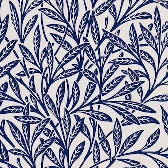 Ornamento de natureza sem costura de fundo azul