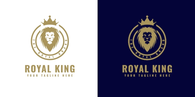 Ornamento de ouro luxo decorativo monograma vintage logotipo com modelo de design de cabeça de coroa e leão apropriado para hotel restaurante spa boutique salão resort resort café joias loja de ornamentos e marca de luxo