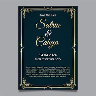 Ornamento de ouro para convite de casamento elegand