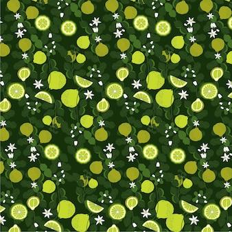 Ornamento de padrão de bergamota em fundo escuro