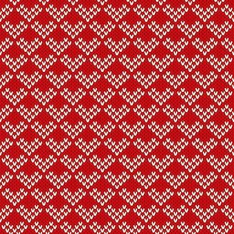 Ornamento de padrão sem emenda na textura de malha de lã.
