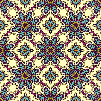 Ornamento de papel de embrulho festivo de vetor de damasco padrão sem emenda
