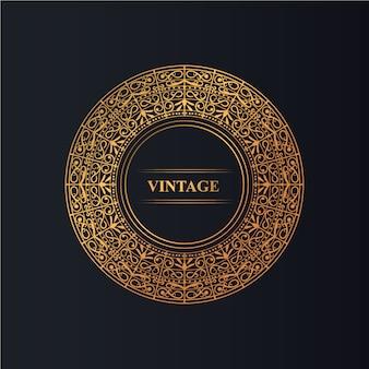 Ornamento de quadro vintage círculo com cor dourada de luxo